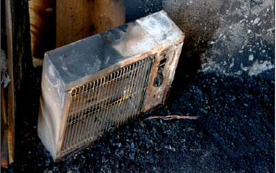 image of a burnt space heater