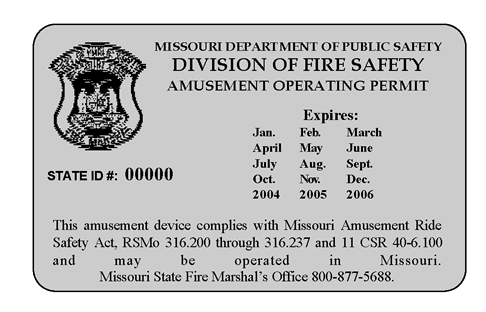 Amusement Ride Permit Form And Decal Fire Safety