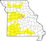 image of the state of Missouri shaded with areas of drought