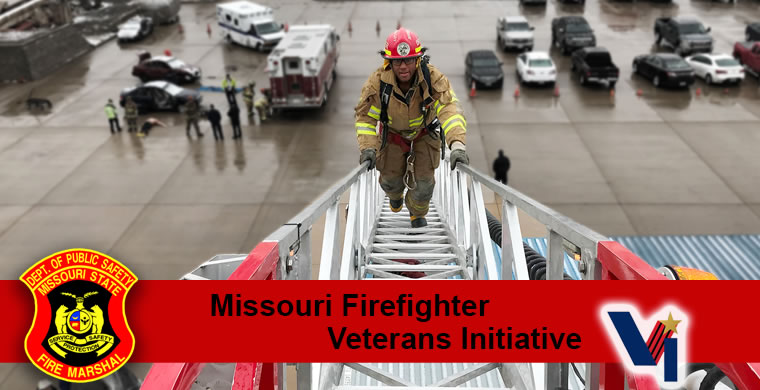 Missouri National Guard soldier Bryan Like ascends an aerial ladder as part of the Missouri Firefighter Veterans Initiative on Feb. 19, 2018