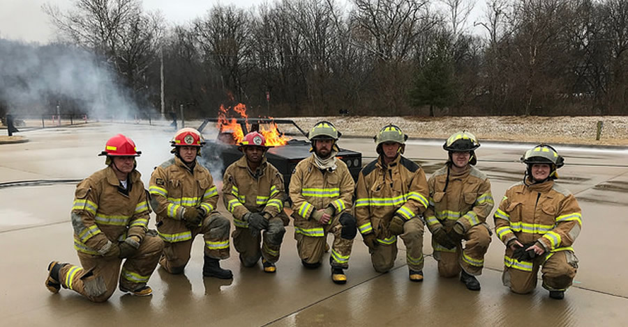 The Missouri Firefighter Veterans Initiative's first class after completing their skills evolution at the Jefferson City Fire Department Training Academy on Feb. 17, 2018.